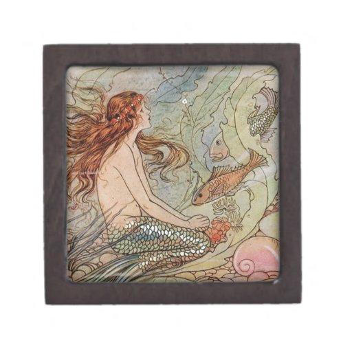 Victorian Mermaid Illustration Jewelry Gift Box Premium Trinket Boxes