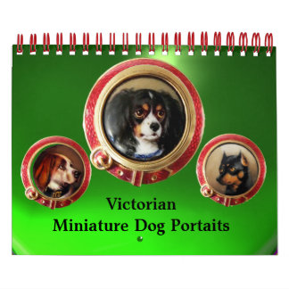 VICTORIAN MINIATURE DOG PORTRAITS 2017 Green Calendar
