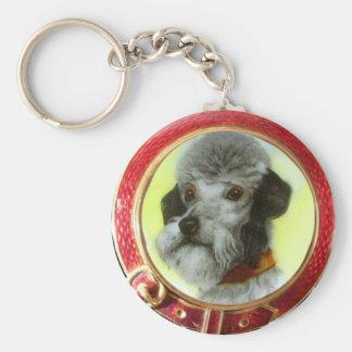 VICTORIAN MINIATURE DOG PORTRAITS AIREDALE TERRIER BASIC ROUND BUTTON KEYCHAIN