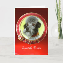 VICTORIAN MINIATURE DOG PORTRAITS Airedale Terrier Holiday Card