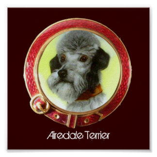 VICTORIAN MINIATURE DOG PORTRAITS Airedale Terrier Poster