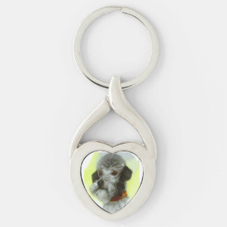 VICTORIAN MINIATURE DOG PORTRAITS Airedale Terrier Silver-Colored Heart-Shaped Metal Keychain