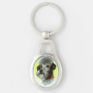 VICTORIAN MINIATURE DOG PORTRAITS Airedale Terrier Silver-Colored Oval Metal Keychain