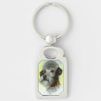 VICTORIAN MINIATURE DOG PORTRAITS Airedale Terrier Silver-Colored Rectangular Metal Keychain