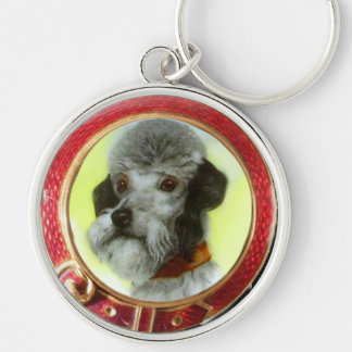VICTORIAN MINIATURE DOG PORTRAITS AIREDALE TERRIER Silver-Colored ROUND KEYCHAIN