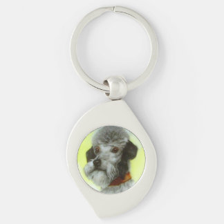 VICTORIAN MINIATURE DOG PORTRAITS Airedale Terrier Silver-Colored Swirl Metal Keychain