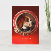 VICTORIAN MINIATURE DOG PORTRAITS  Bloodhound Holiday Card