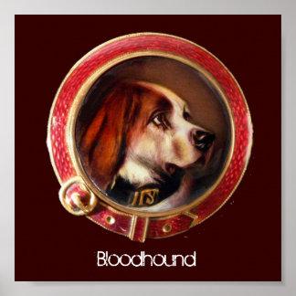 VICTORIAN MINIATURE DOG PORTRAITS Bloodhound Poster