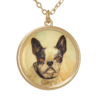 VICTORIAN MINIATURE DOG PORTRAITS French Bulldog Necklace