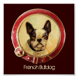 VICTORIAN MINIATURE DOG PORTRAITS French Bulldog Poster