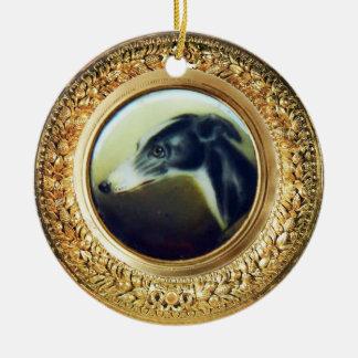 VICTORIAN MINIATURE DOG PORTRAITS Irish Greyhound Ceramic Ornament