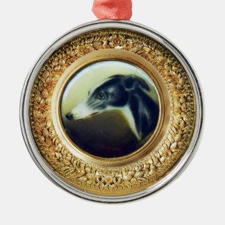 VICTORIAN MINIATURE DOG PORTRAITS Irish Greyhound Metal Ornament
