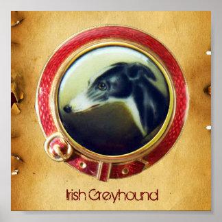 VICTORIAN MINIATURE DOG PORTRAITS Irish Greyhound Poster