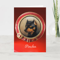 VICTORIAN MINIATURE DOG PORTRAITS  Pincher Holiday Card