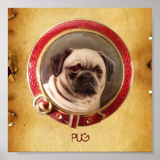 VICTORIAN MINIATURE DOG PORTRAITS Pug Poster