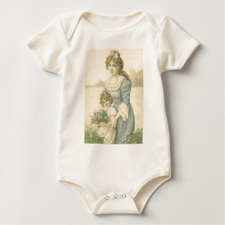 Victorian Mom Daughter Picking Flowers Mother'sDay Baby Bodysuit