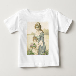 Victorian Mom Daughter Picking Flowers Mother'sDay Baby T-Shirt