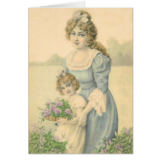 Victorian Mom Daughter Picking Flowers Mother'sDay Card