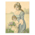 Victorian Mom Daughter Picking Flowers Mother'sDay Postcard