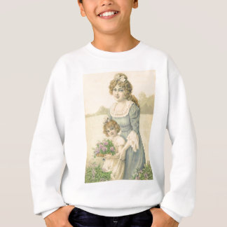 Victorian Mom Daughter Picking Flowers Mother'sDay Sweatshirt