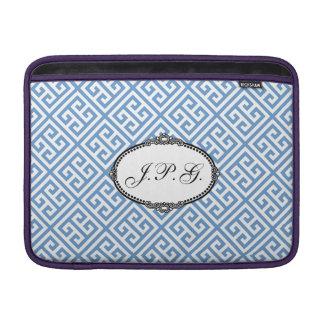 Victorian Monogram Blue & White Greek Key Pattern MacBook Air Sleeve