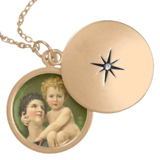 Victorian Mother and Baby Gold Plated Necklace