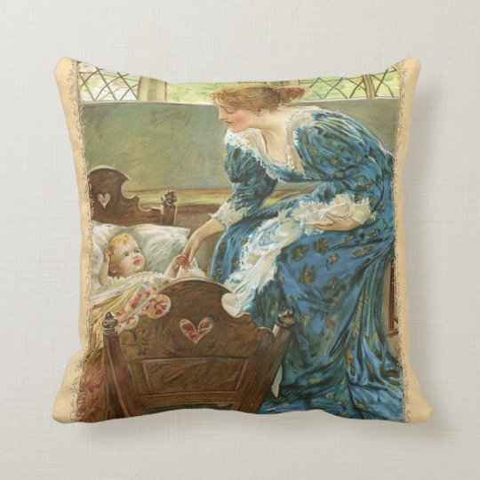 Victorian Mother and Baby Throw Pillow
