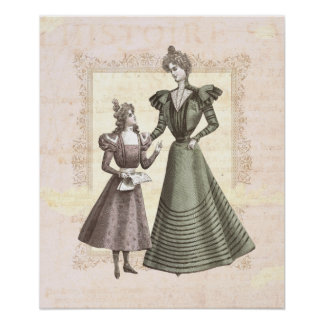 Victorian Mother and Child Vintage Collage Print