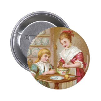 Victorian Mother and Daughter Baking 2 Inch Round Button