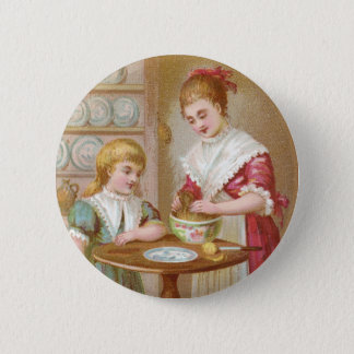 Victorian Mother and Daughter Baking Pinback Button