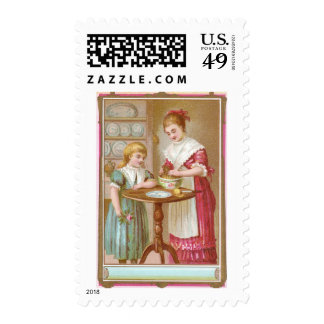 Victorian Mother and Daughter Baking Postage Stamp