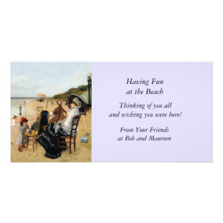 Victorian Mother and Daughter Beachside Photo Card
