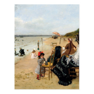 Victorian Mother and Daughter Beachside Postcard