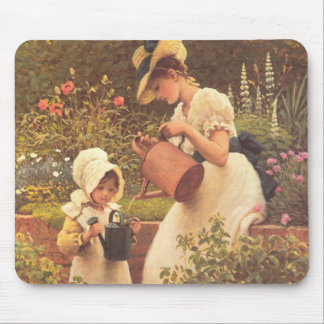 Victorian mother and daughter in a garden mousepad