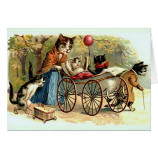 Victorian Mother Cat and Family Note Card