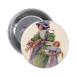 Victorian Mother & Daughter Flowers Mother's Day Pinback Button