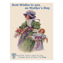 Victorian Mother & Daughter Flowers Mother's Day Postcard