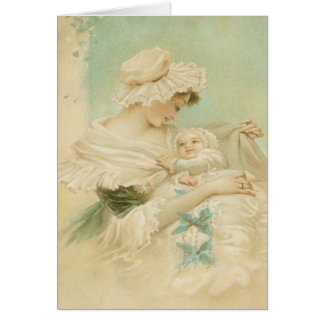 Victorian Mother Holding Child Mother's Day Card