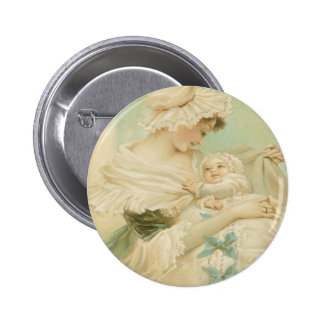 Victorian Mother Holding Child Mother's Day Card Pinback Button