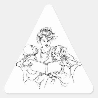 Victorian Mother Reads To Her Children Triangle Sticker