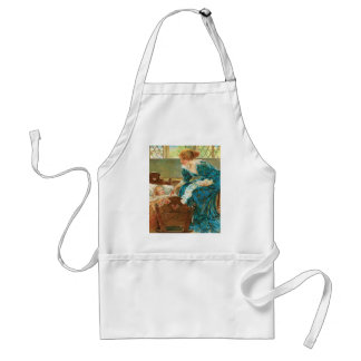 Victorian Mother Tending Her Baby In A Cradle Adult Apron