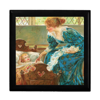 Victorian Mother Tending Her Baby In A Cradle Keepsake Box