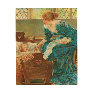 Victorian Mother Tending Her Baby In A Cradle Wood Print