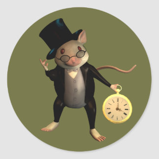 Victorian Mouse Round Stickers
