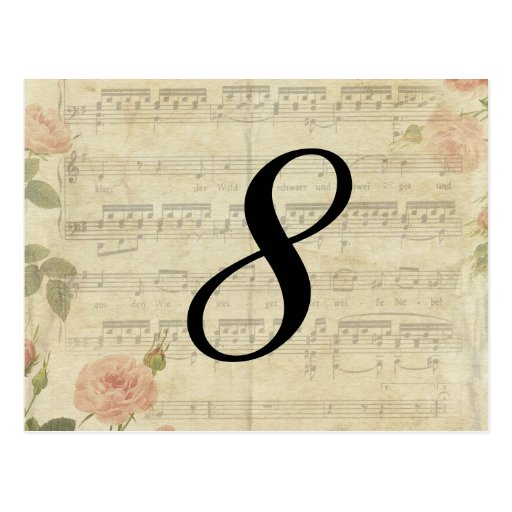Victorian Music and Rose Table Number Card Post Cards