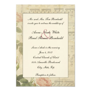Victorian Music and Rose Wedding Invitation at Zazzle