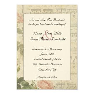 Superb Victorian Music And Rose Wedding Invitation