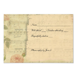 Victorian Music Rose rsvp with envelopes Card