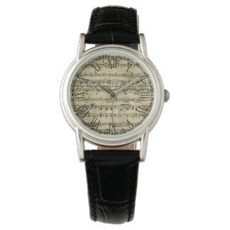 Victorian Music Sheet Wallpaper Wrist Watch