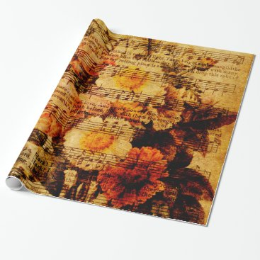 Cafe_Parchment Victorian Music Sheet Watercolor Flower Wallpaper Wrapping Paper